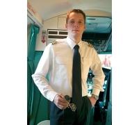 Мужская футболка для пилота, MODERN FIT, белая, удлиненная рука