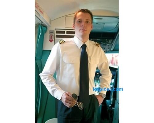 Рубашка мужская пилот, MODERN FIT, белый, длинный рукав