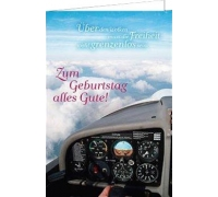 """Сложенная открытка """"Geburtstag Cockpit"""""""
