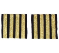 Погоны Капитан - погоны пилотов, четыре полосы, золотого цвета